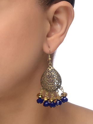 Blue Gold Tone Beaded Earrings