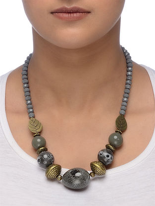 Grey Gold Tone Beaded Ceramic Necklace