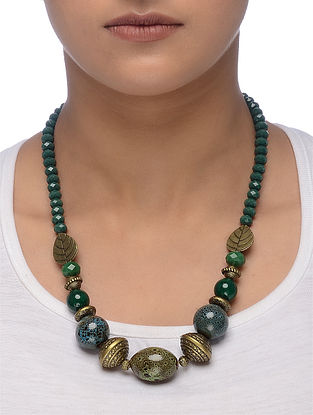 Green-Blue Gold Tone Beaded Ceramic Necklace