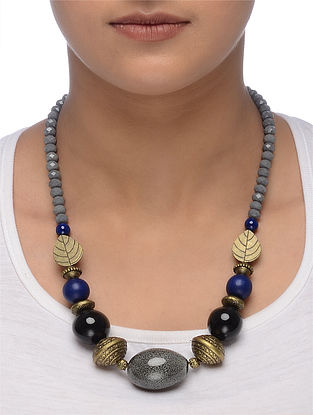 Blue-Grey Gold Tone Beaded Ceramic Necklace