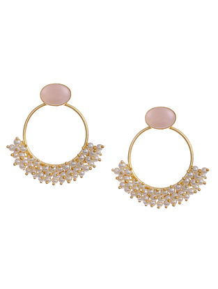 Gold Tone Handcrafted Earrings with Pearls and Pink Chalcedony