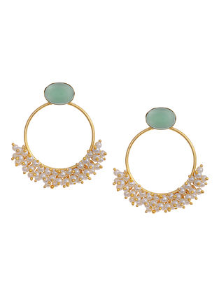 Gold Tone Handcrafted Earrings with Pearls and Aqua Chalcedony