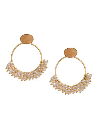 Gold Tone Handcrafted Earrings with Pearls and Marble Jasper