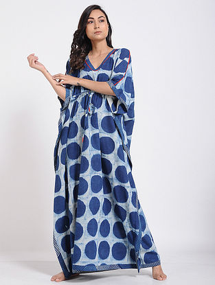 Indigo-Ivory Block-printed Cotton Kaftan