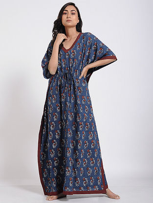 Indigo-Maroon Block-printed Cotton Kaftan