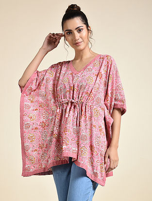 Pink Red Block Printed Cotton Short Kaftan