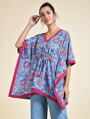 Blue Pink Block Printed Cotton Short Kaftan