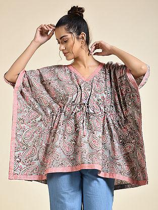 Grey Pink Block Printed Cotton Short Kaftan