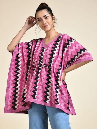 Pink Chevron Printed Cotton Short Kaftan
