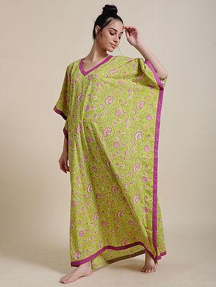 Lime Green Block Printed Cotton Kaftan