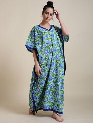 Turquoise Block Printed Cotton Kaftan