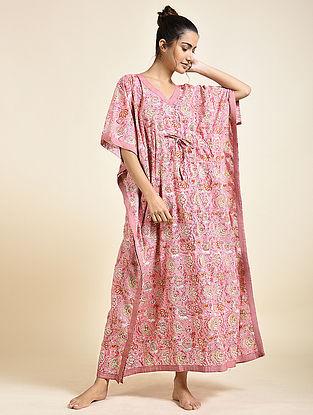 Pink Block Printed Cotton Kaftan