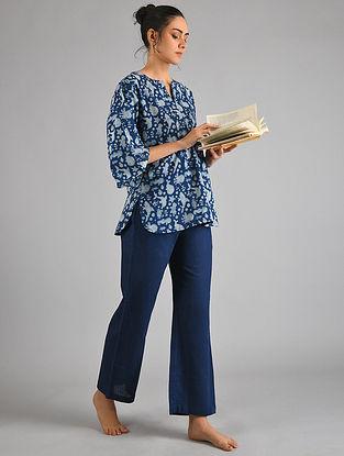Indigo Ivory Block Printed Cotton Top with Pyjamas (Set of 2)