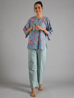 Aqua Pink Block Printed Cotton Top with Pyjamas (Set of 2)