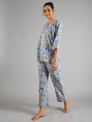 Ash Blue Block Printed Cotton Top with Pyjamas (Set of 2)