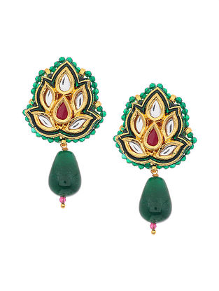 Maroon Green Gold Tone Kundan and Meenakari Earrings