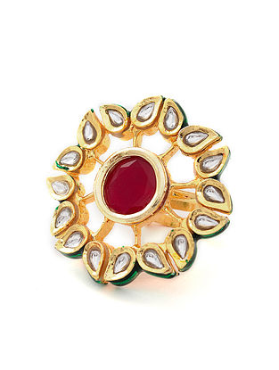 Maroon Gold Tone Kundan Adjustable Ring