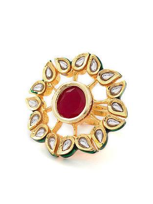 Maroon Gold Tone Kundan Adjustable Ring