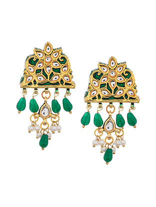 Green Gold Tone Kundan Earrings with Pearls