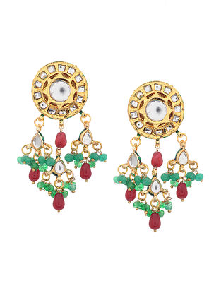 Maroon Green Gold Tone Kundan Earrings