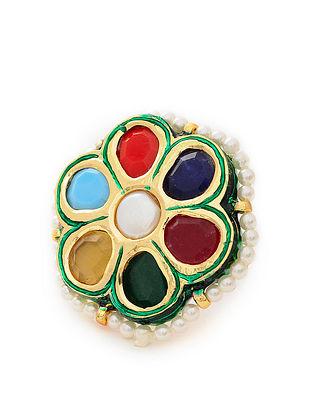 Gold Tone Navratan Adjustable Ring
