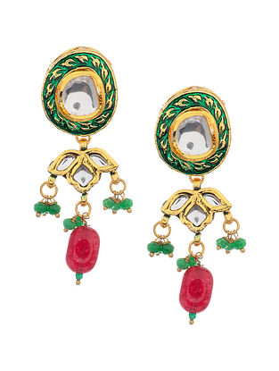 Red Green Gold Tone Kundan Earrings