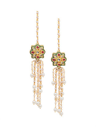 Red Green Gold Tone Kundan Earrings with Pearls
