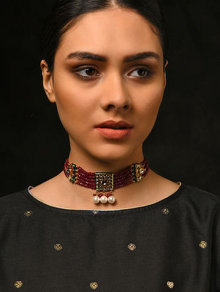 Maroon Green Gold Tone Kundan Necklace with Pearls
