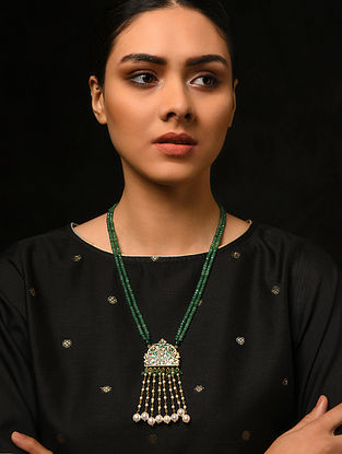 Green Gold Tone Kundan and Meenakari Necklace with Pearls