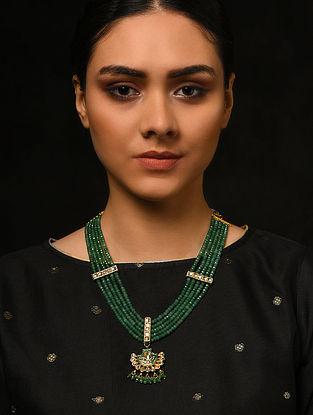 Green Gold Tone Kundan and Meenakari Necklace