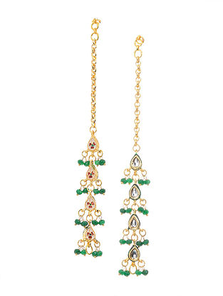 Green Gold Tone Kundan and Meenakari Ear Chains