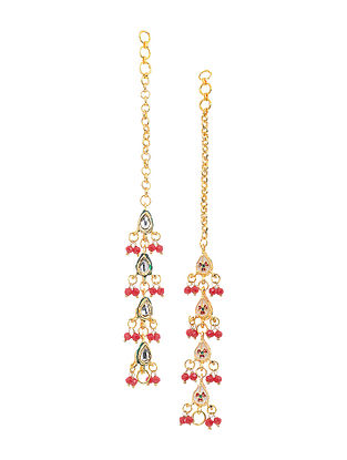 Maroon Gold Tone Kundan and Meenakari Ear Chains
