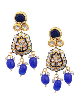 Blue Gold Tone Kundan Enameled Earrings
