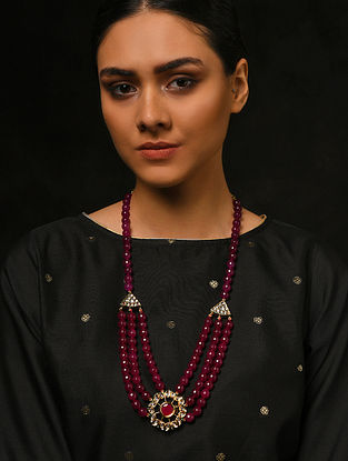 Maroon Gold Tone Kundan Necklace