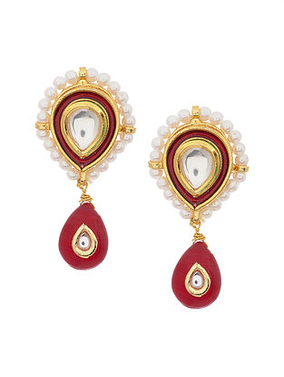 Maroon Gold Tone Kundan Earrings with Pearls