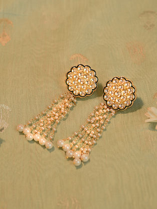 White Gold Tone Kundan Beaded Earrings With Pearls