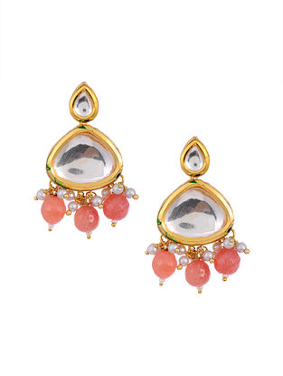 Peach Gold Tone Kundan Earrings with Pearls