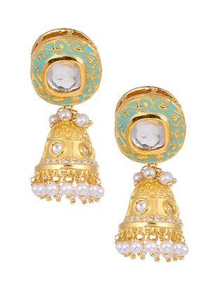Blue Gold Tone Kundan Enameled Jhumki Earrings with Pearls