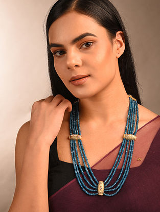 Blue Grey Beaded Kundan Necklace