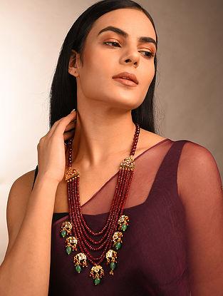 Maroon Green Gold Tone Kundan Beaded Necklace