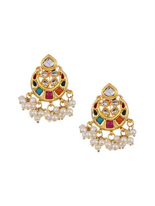 Multicolored Gold Tone Kundan Earrings with Pearls