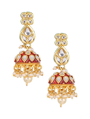 Maroon Gold Tone Kundan Enameled Jhumki Earrings