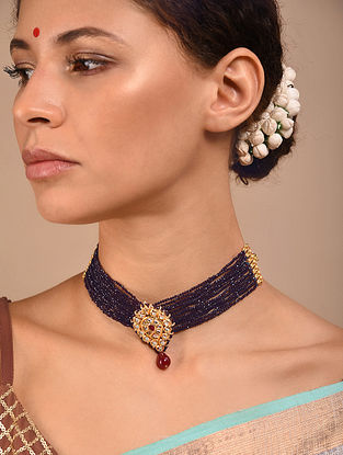 Maroon Black Gold Tone Kundan Beaded Necklace