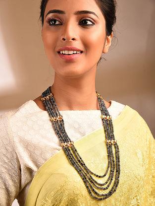 Grey Gold Tone Kundan Beaded Necklace
