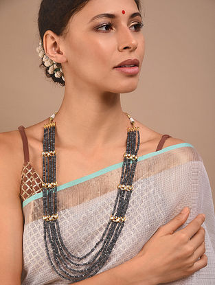 Grey Gold Tone Kundan Beaded Necklace