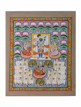 Hand-Painted Pichwai with Shreenathji in Lotus Pond (22in x 18.5in)