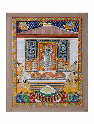Hand-Painted Pichwai with Shreenathji and Annakut Bhog (23in x 19in)