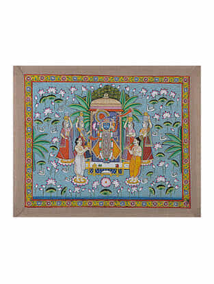 Hand-Painted Pichwai with Shreenathji and Lotus Pond (18.5in x 23in)
