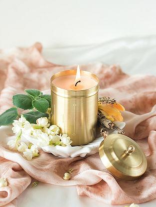 Golden Handcrafted Brass Jar Candle (Burns 50 Hours)
