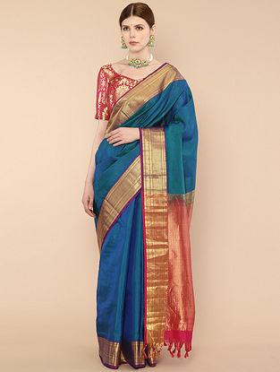 Blue-Pink Handwoven Kanjivaram Silk Saree